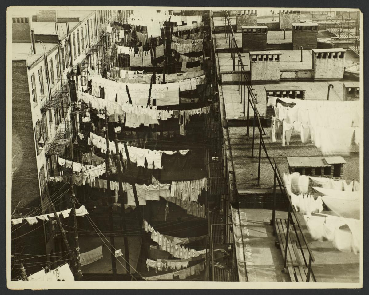 Clotheslines on Roofs and Between Buildings