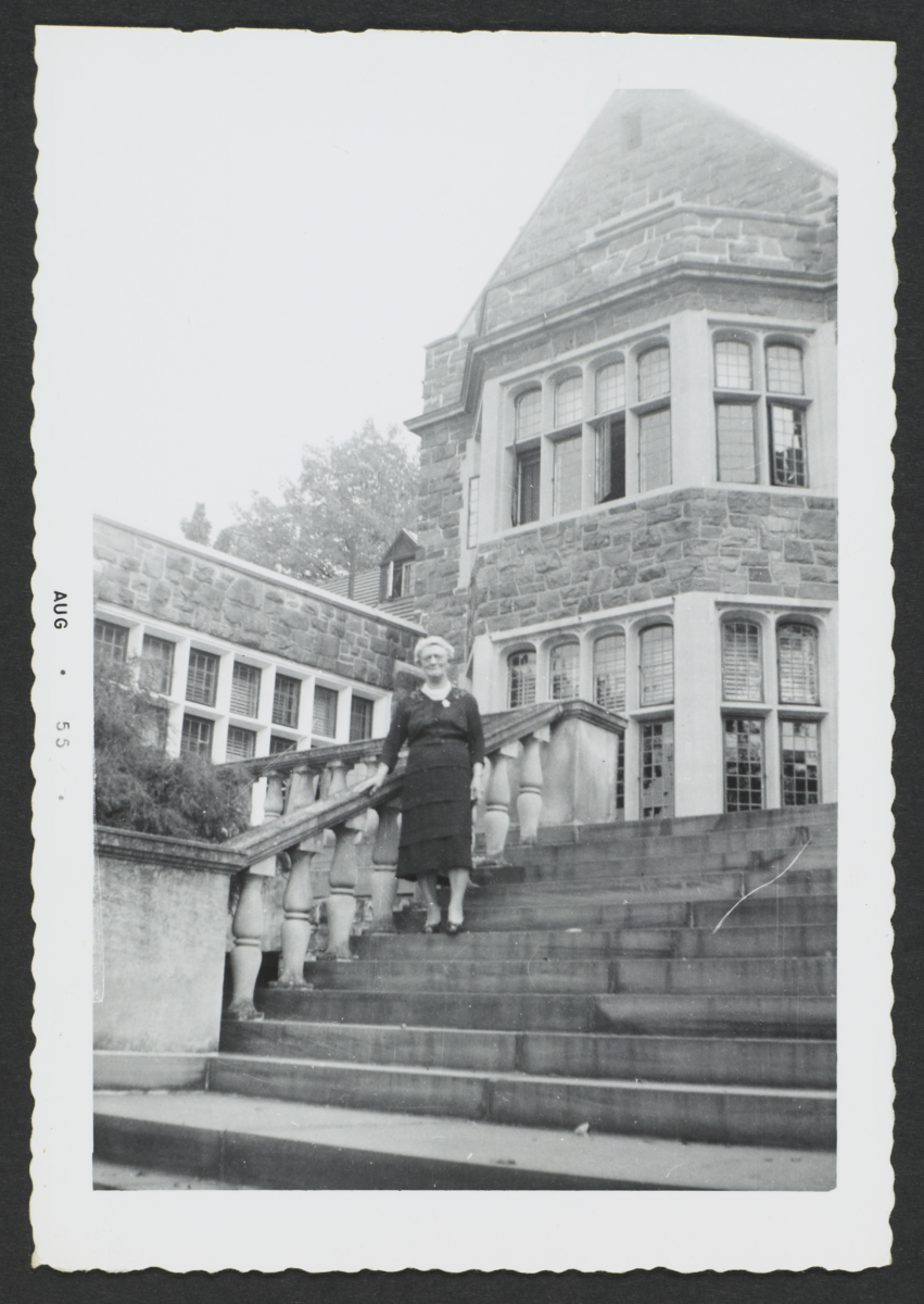 Woman on Stairs to Ward Manor House