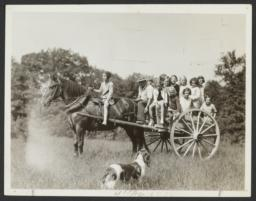 Man with Children on Horse and Buggy