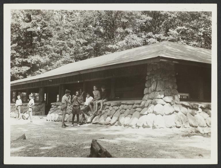 Boys Outside Cabin near Woods