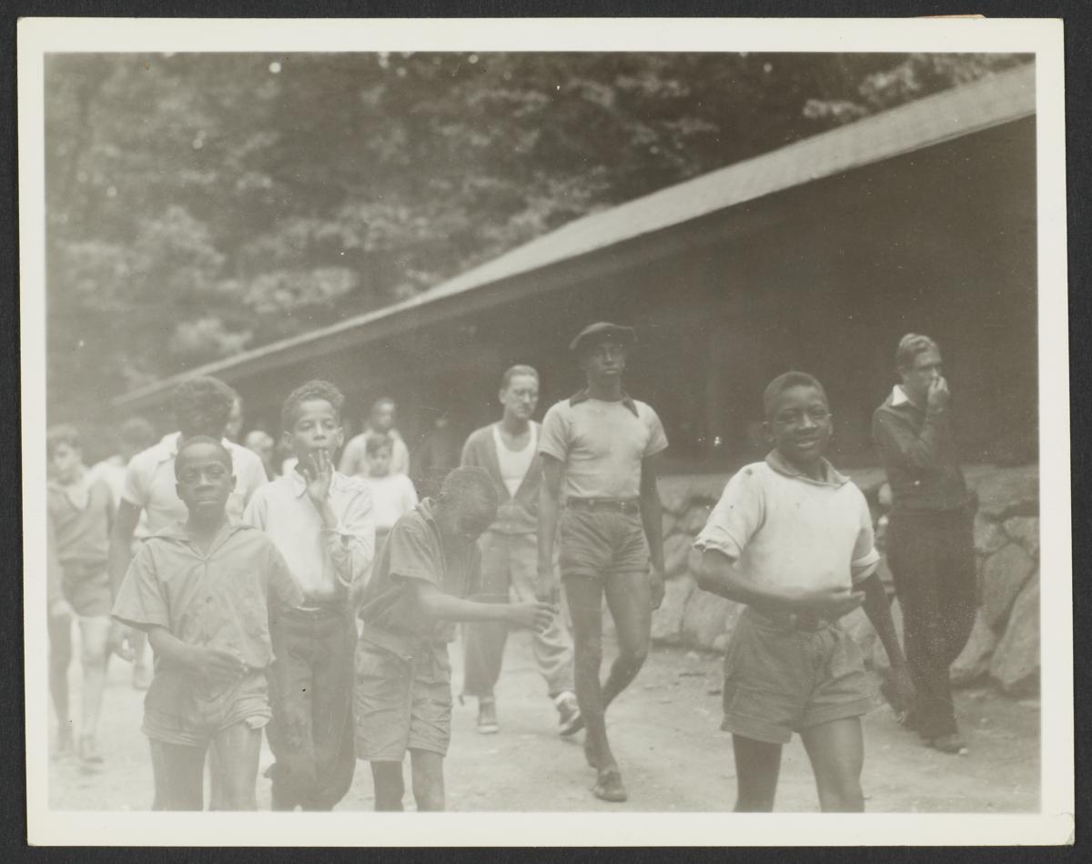 Boys Walking by Cabin