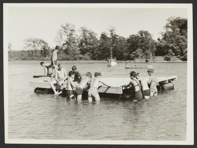 Ward Manor--Boy Campers on a Float in the Hudson Bay
