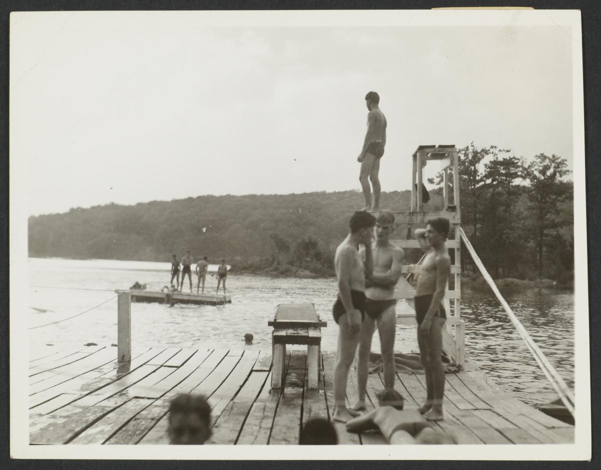 Boys on Dock with Lifeguard Platform