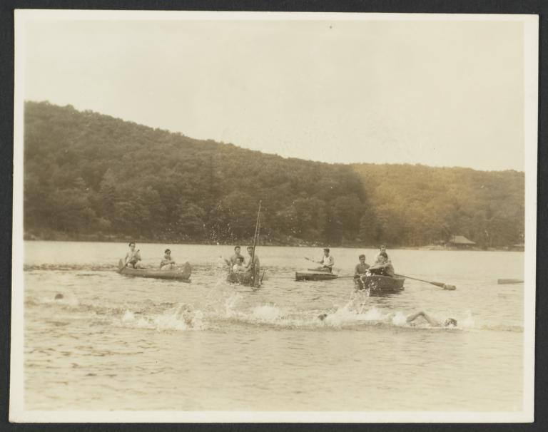 Boys Swimming and Canoeing