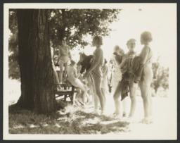 Girls near Tree