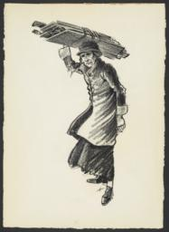 Woman Carrying Wooden Planks