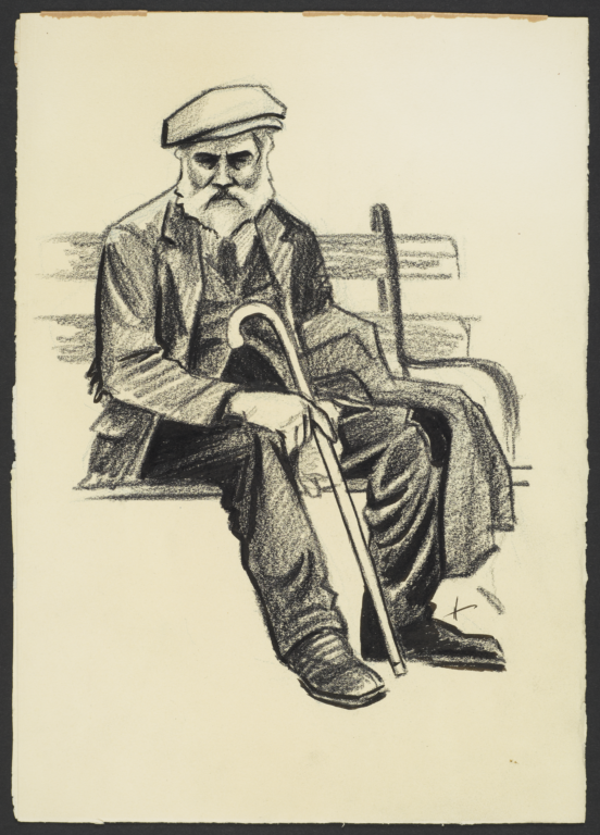 Man with Cane on Bench