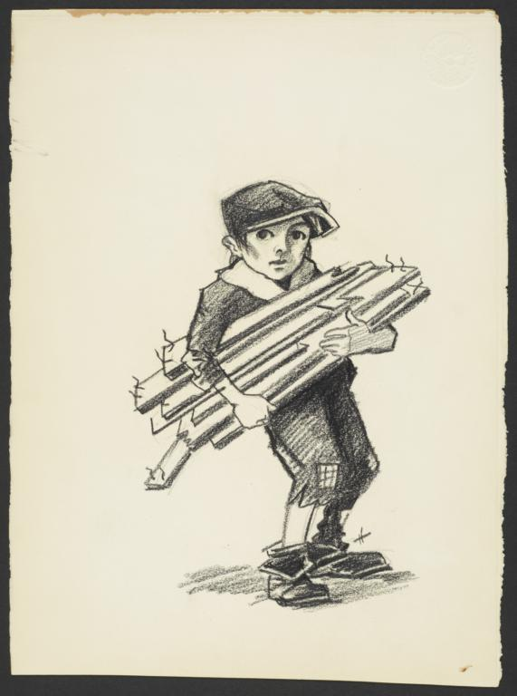 Boy Carrying Wooden Planks