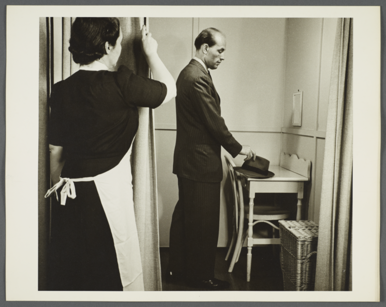 Health Examination-Men Album -- Nurse Closing Curtain for Man to Change
