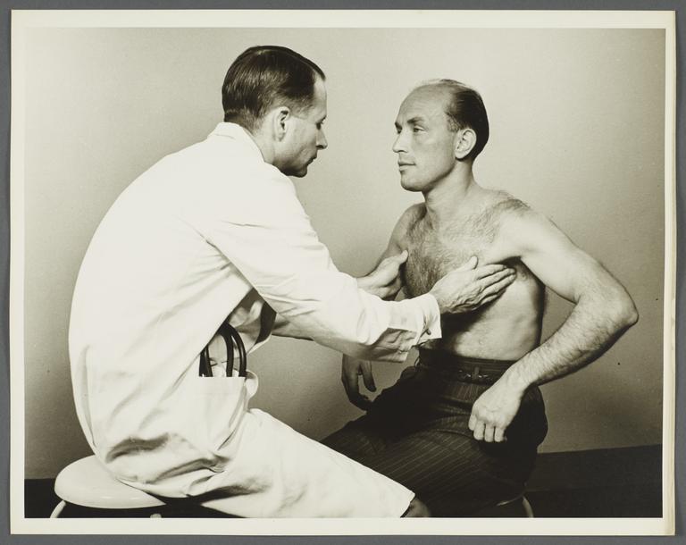 Health Examination-Men Album -- Doctor Examining Man's Lymphnodes