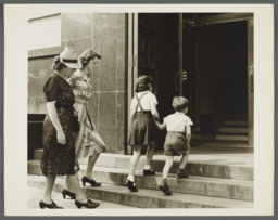 Nurses' Family Health Series: Tuberculosis Album -- Mrs. Balton with Children Going to Chest Clinic