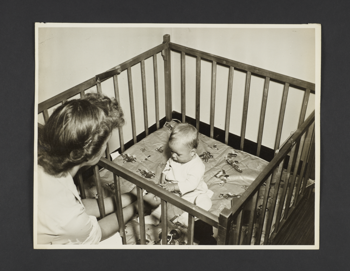 Picturing Some of the Principles of Child Care Album -- Baby Playing in Pen