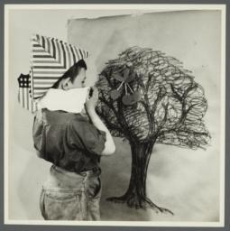 Lenox Hill, 1948-1949 Album -- Boy with Drawing of Tree
