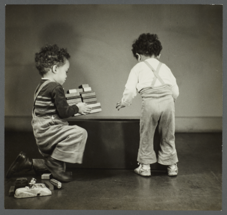 Lenox Hill, 1948-1949 Album -- Boys Playing with Wooden Blocks