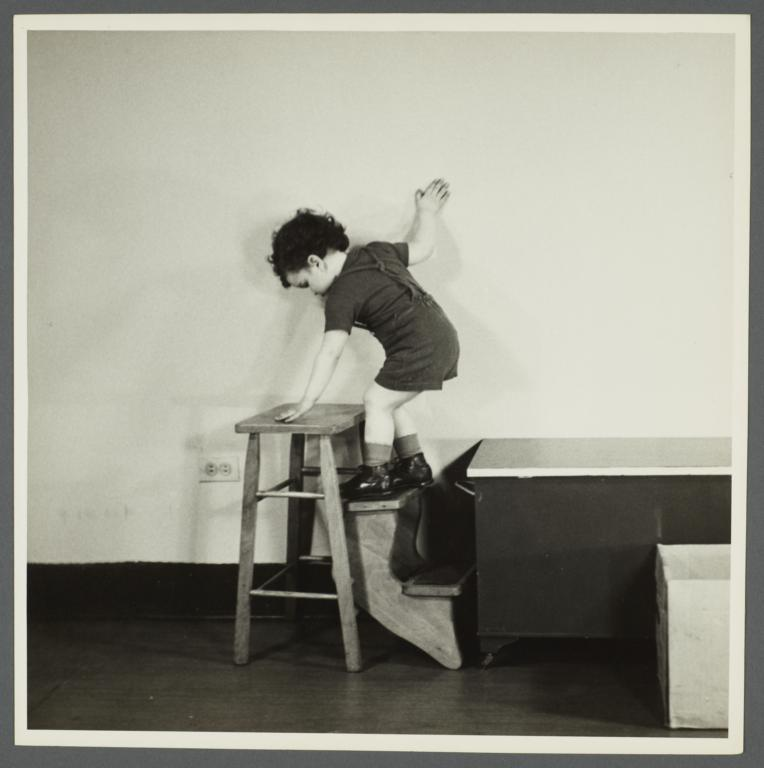 Lenox Hill, 1948-1949 Album -- Boy Climbing on Stool