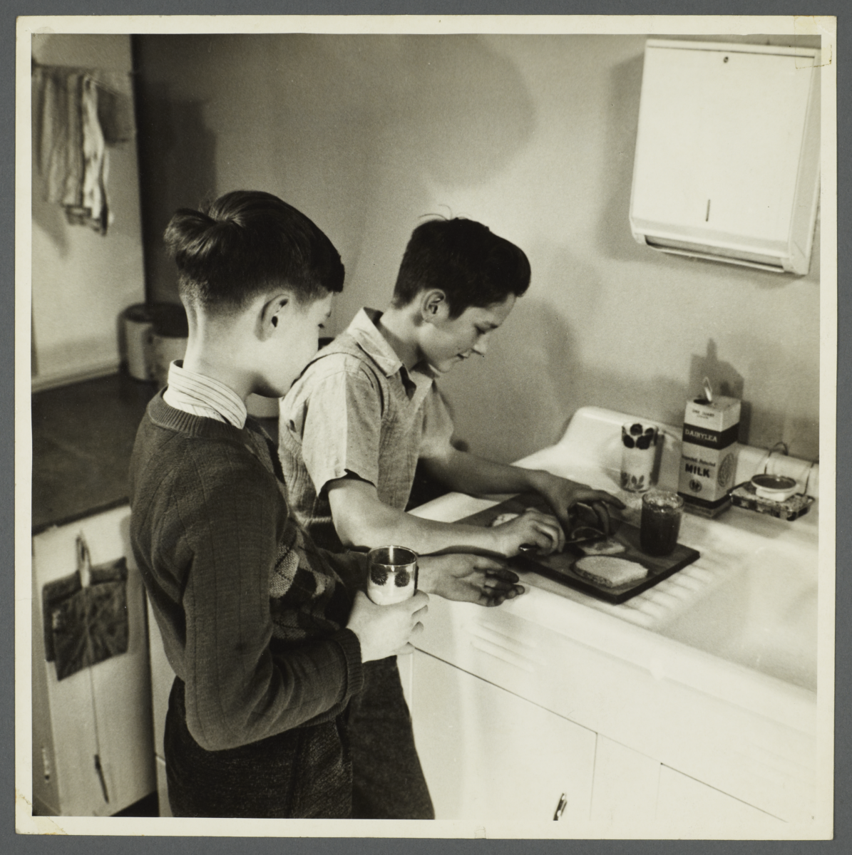 Lenox Hill, 1948-1949 Album -- Boys Making Sandwiches