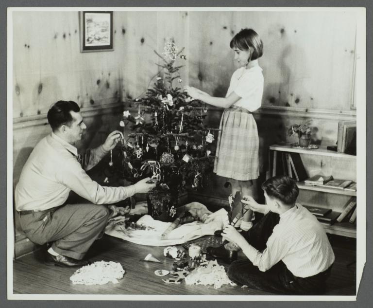 Lenox Hill, 1948-1949 Album -- Decorating Christmas Tree