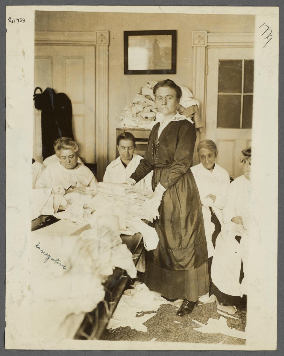 Women's Work Rooms Album -- Women Sewing Linens