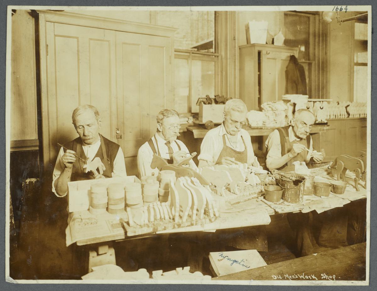 Old Men's Toy Shop Album -- Men Painting Wooden Toys