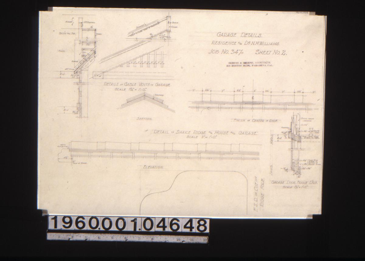 Greene Collection Nathan H Williams House Altadena Printable Basic Electrical Wiring Diagrams Garage Of Shake Ridge For And Section Finish Center Roof Elevation Fsd Cut On Pole Door Frame Dtls Sheet No