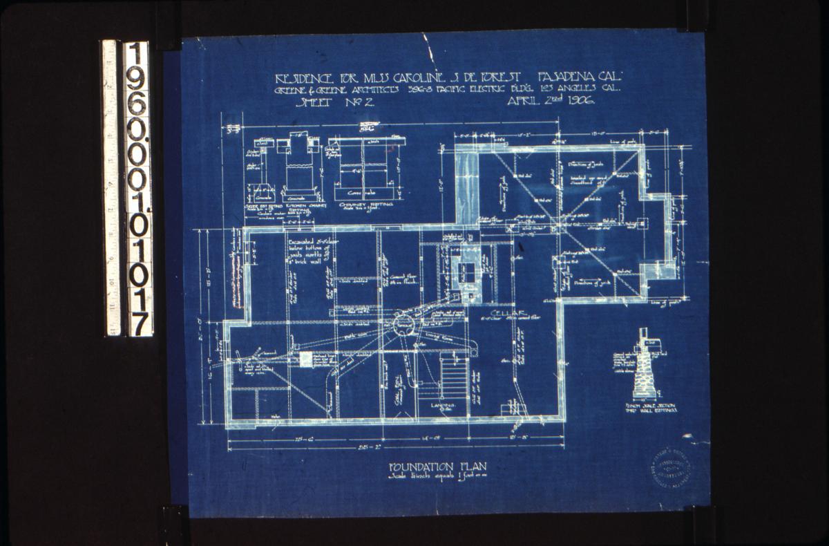 Greene Collection Caroline S Deforest House Pasadena Wall Schematic Engineering Diagram Default